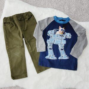Toddler boy outfit Size 2T - Pants & L/S Shirt 2T